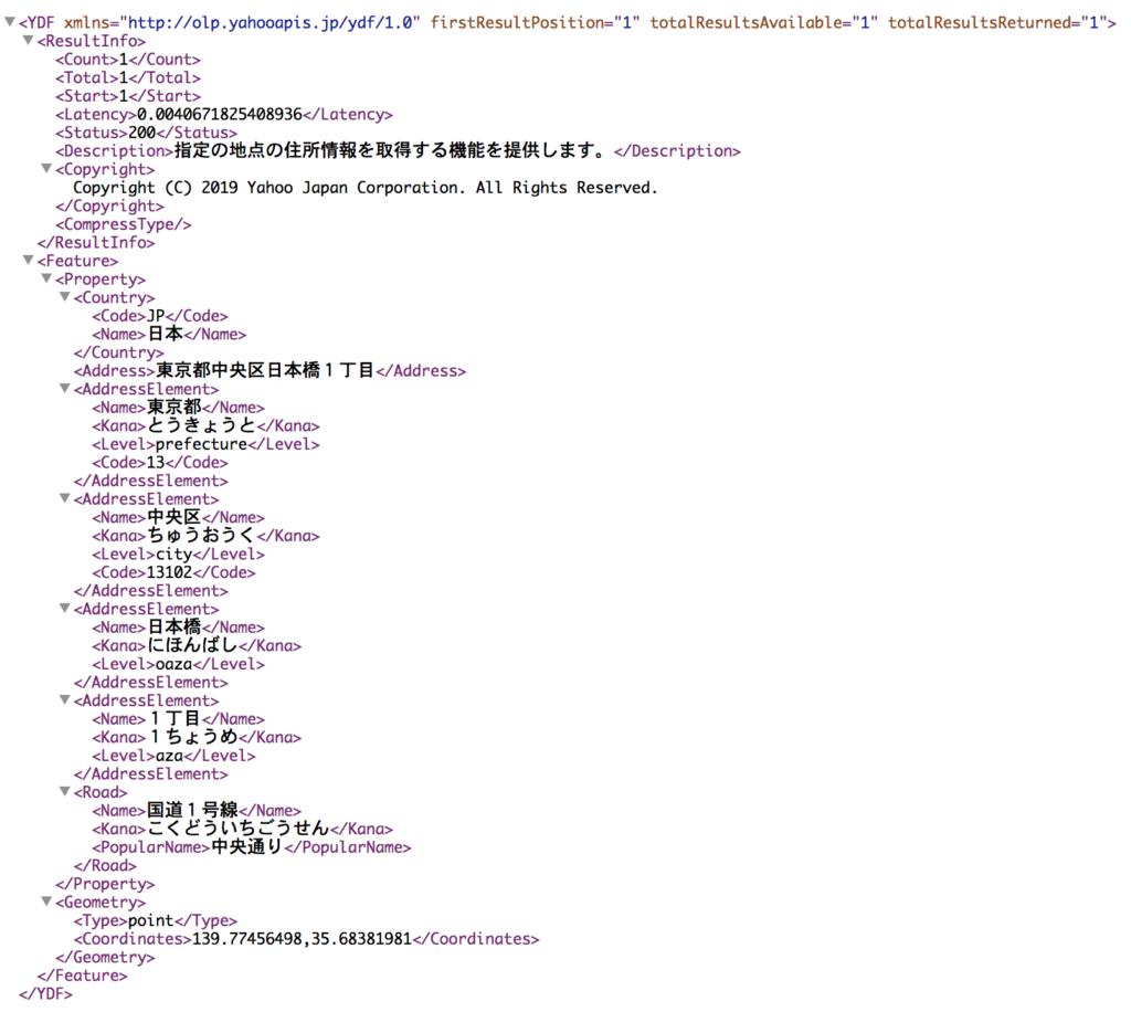 YahooジオコーダーAPI取得JSON