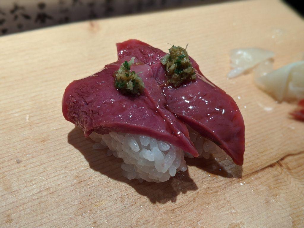 都立大学寿司新田中のサメの心臓