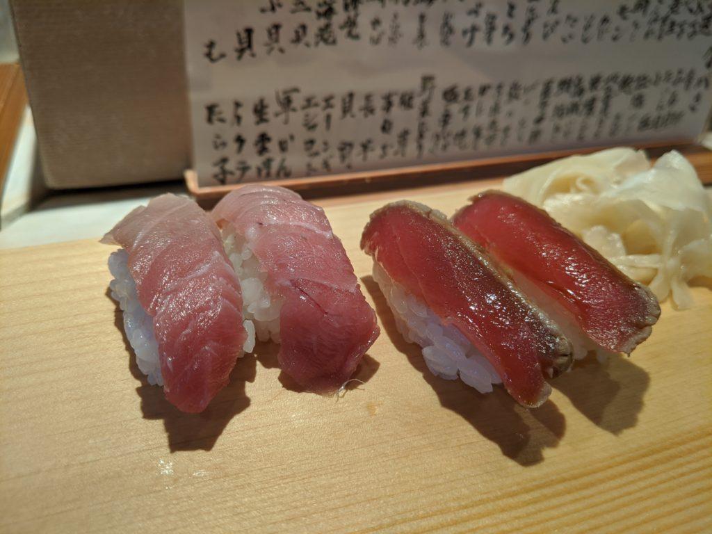 寿司新田中のトロと漬けマグロ